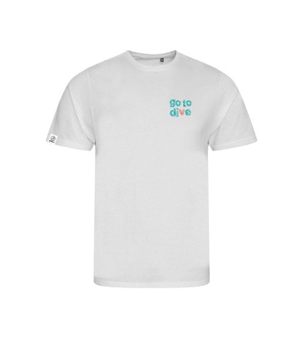 t-shirt go to dive plongée profonde arrière - 50 Bar 50 Bar textiles Pet recyclé et Coton recyclé, t-shirt en matériaux recyclés, casquettes, porte-clés, etc.